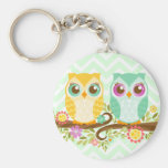 Teal and Orange Owls on Flower Branch - Key Chain