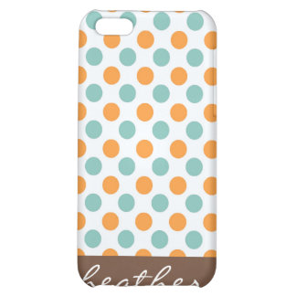Teal and Orange Polka Dots iPhone 4 Speck Case iPhone 5C Cases