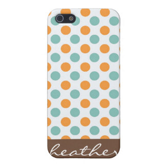 Teal and Orange Polka Dots iPhone 4 Speck Case Cover For iPhone 5