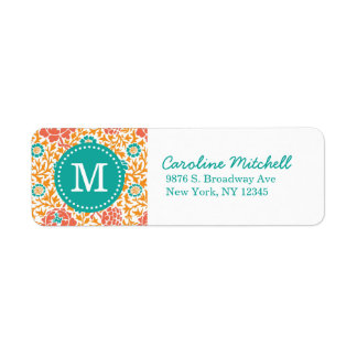 Teal and Orange Retro Floral Damask Monogram Label