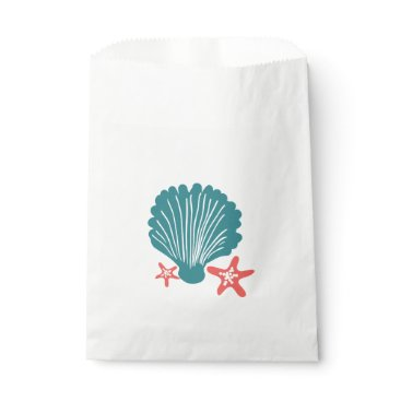 Beach Themed Teal and Orange Sea Shell and Star Fish Favor Bag