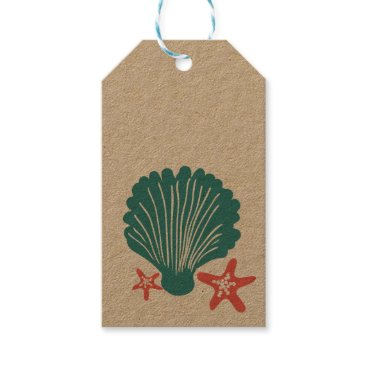 Beach Themed Teal and Orange Sea Shell and Star Fish Gift Tags