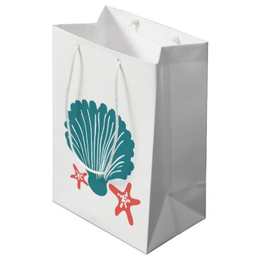 Beach Themed Teal and Orange Sea Shell and Star Fish Medium Gift Bag