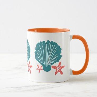Beach Themed Teal and Orange Sea Shell and Star Fish Mug