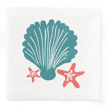Beach Themed Teal and Orange Sea Shell and Star Fish Paper Dinner Napkin