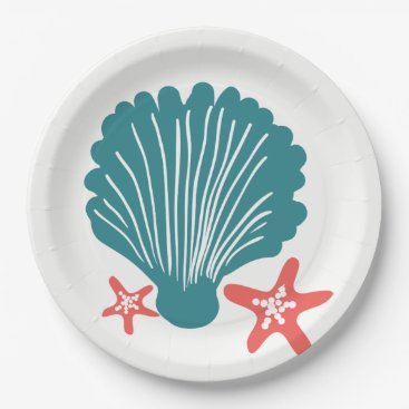 Beach Themed Teal and Orange Sea Shell and Star Fish Paper Plate