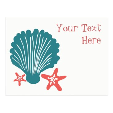 Beach Themed Teal and Orange Sea Shell and Star Fish Postcard
