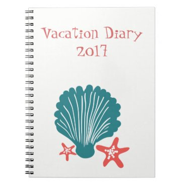 Beach Themed Teal and Orange Sea Shell and Star Fish Spiral Notebook
