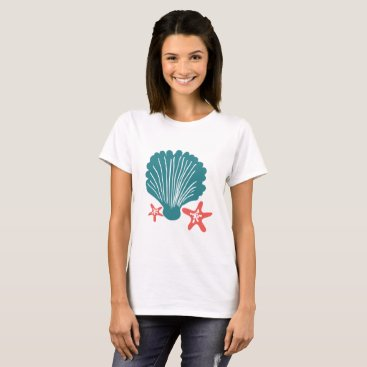 Beach Themed Teal and Orange Sea Shell and Star Fish T-Shirt