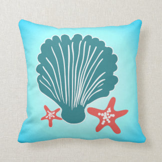 Teal and Orange Sea Shell and Star Fish Throw Pillow