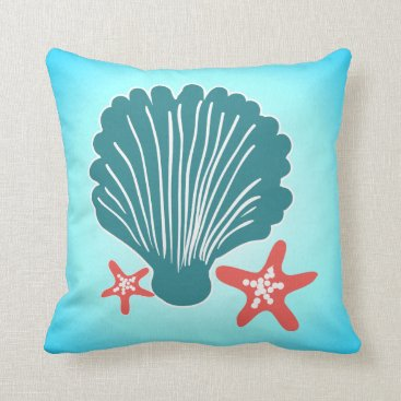 Beach Themed Teal and Orange Sea Shell and Star Fish Throw Pillow