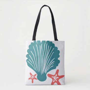 Beach Themed Teal and Orange Sea Shell and Star Fish Tote Bag