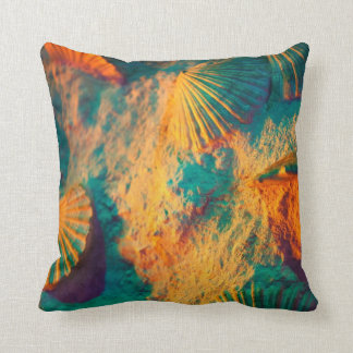 Teal and Orange Seashells and Sand Pillow