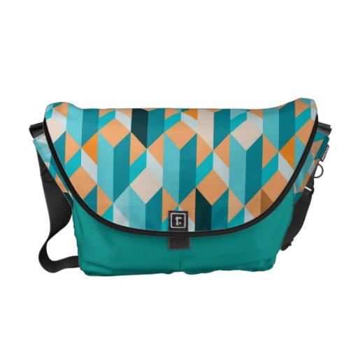 Teal And Orange Shapes Pattern Messenger Bag