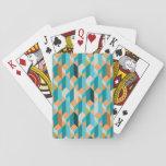 Teal And Orange Shapes Pattern Poker Cards