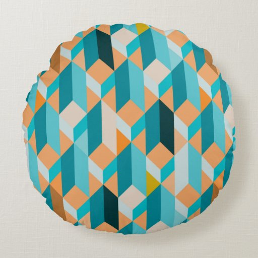 Decorative Pillow Shapes And Sizes : Teal And Orange Shapes Pattern Round Pillow Zazzle