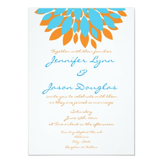Teal And Orange Simple Flowers Wedding Invitations