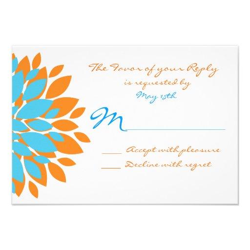 Teal And Orange Simple Flowers Wedding RSVP Cards 3 5 X 5