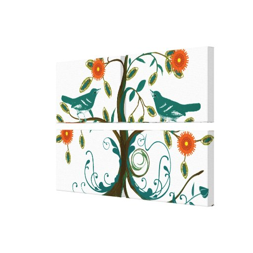 Teal and Orange  Vintage Love Birds Canvas Print