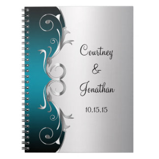 Teal and Ornate Silver Swirls Wedding Guest Book Spiral Note Book