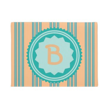 Beach Themed Teal and Pale Orange Welcome Mat