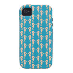Teal and Peach Color Seahorse Pattern. iPhone 4/4S Cover