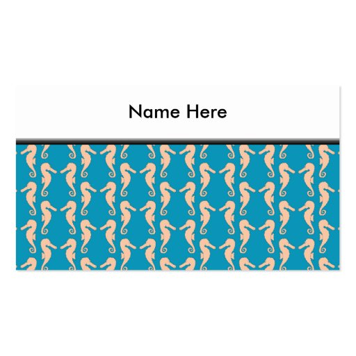 Teal and Peach Color Seahorse Pattern. Double-Sided Standard Business Cards (Pack Of 100)