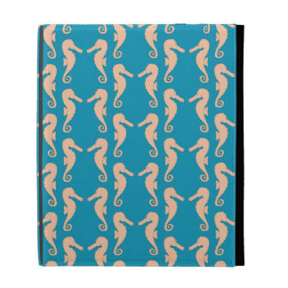 Teal and Peach Color Seahorse Pattern. iPad Case