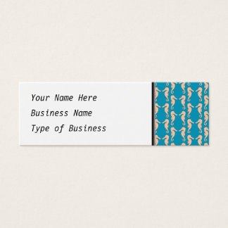 Teal and Peach Color Seahorse Pattern. Mini Business Card