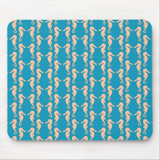 Teal and Peach Color Seahorse Pattern. Mouse Pad