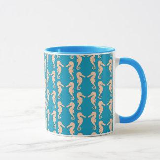 Teal and Peach Color Seahorse Pattern. Mug