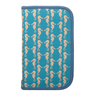 Teal and Peach Color Seahorse Pattern. Organizers