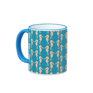 Teal and Peach Color Seahorse Pattern. Ringer Mug
