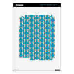 Teal and Peach Color Seahorse Pattern. iPad 3 Decal