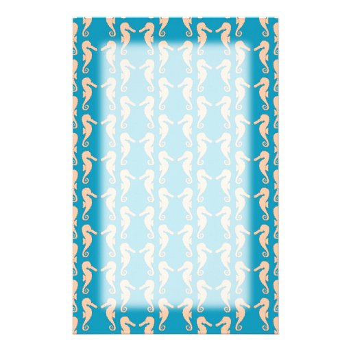 Teal and Peach Color Seahorse Pattern. Stationery