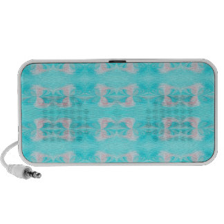 Teal and Pink Abstract Patterned Art Doodle Notebook Speakers
