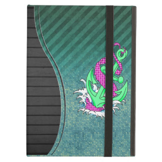 Teal and Pink Anchor on polka dots and stripes iPad Air Case