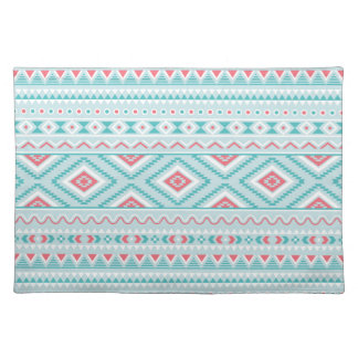 Teal and Pink Aztec Tribal Pattern Cloth Placemat