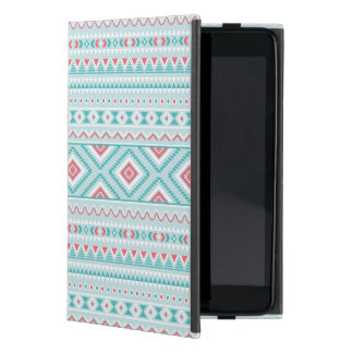 Teal and Pink Aztec Tribal Pattern Cover For iPad Mini