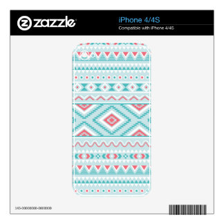 Teal and Pink Aztec Tribal Pattern Decal For iPhone 4S