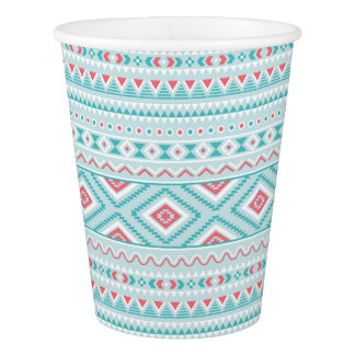 Teal and Pink Aztec Tribal Pattern Paper Cup