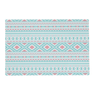 Teal and Pink Aztec Tribal Pattern Placemat