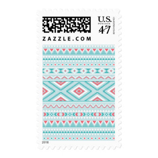 Teal and Pink Aztec Tribal Pattern Postage