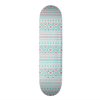 Teal and Pink Aztec Tribal Pattern Skateboard Deck