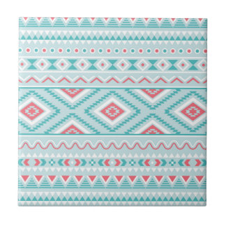 Teal and Pink Aztec Tribal Pattern Tile