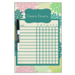 Teal and Pink Floral Chore Chart Dry Erase Whiteboards