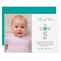 Teal and Pink Floral Cross Baptism Photo Thank You Card