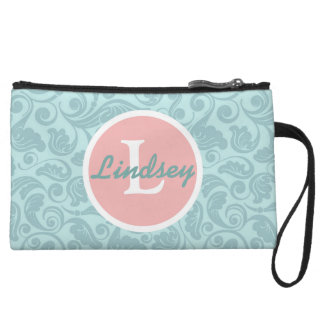 Teal and Pink Floral Monogrammed Clutch