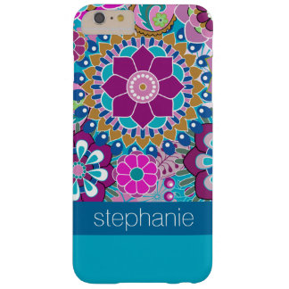 Teal and Pink Floral Pattern with Custom Baby Name Barely There iPhone 6 Plus Case