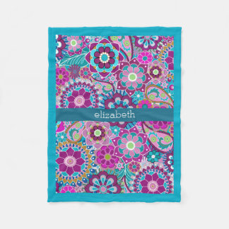 Teal and Pink Floral Pattern with Custom Baby Name Fleece Blanket